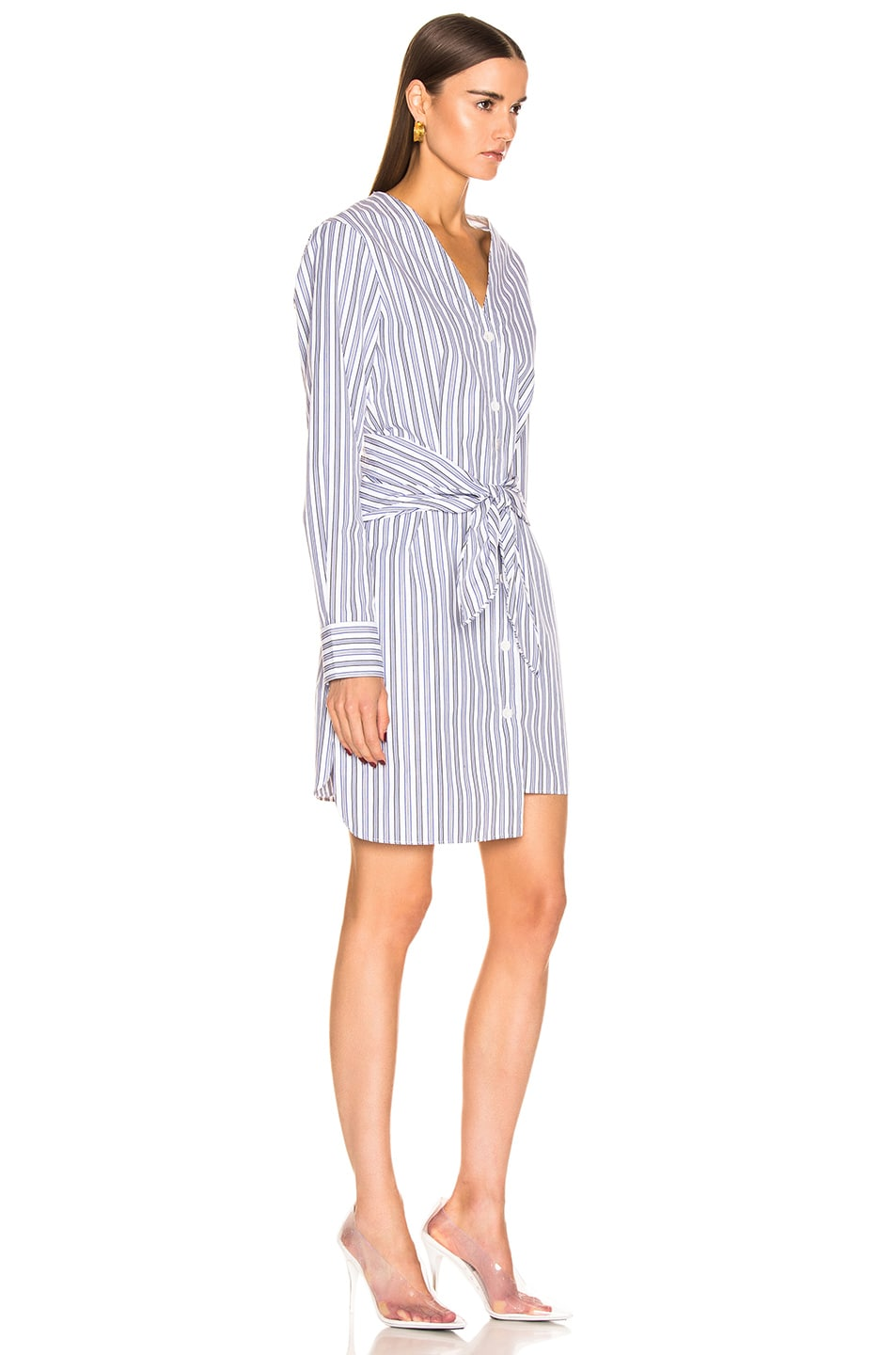 Image 2 of Tibi Liam Stripe V-Neck Shirtdress in Blue Multi