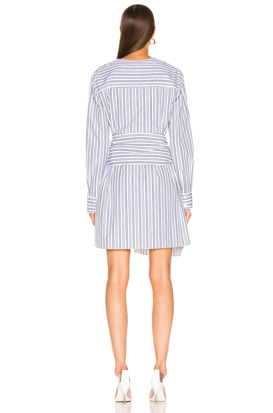 Image 3 of Tibi Liam Stripe V-Neck Shirtdress in Blue Multi