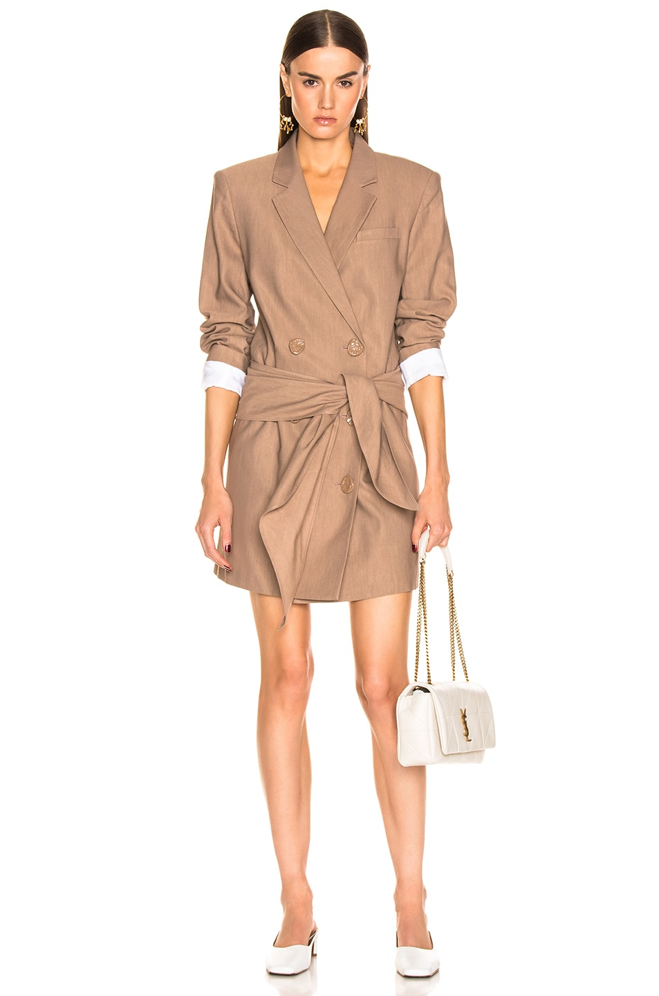 Image 1 of Tibi Linen Suiting Blazer Dress With Detachable Tie in Sable Brown