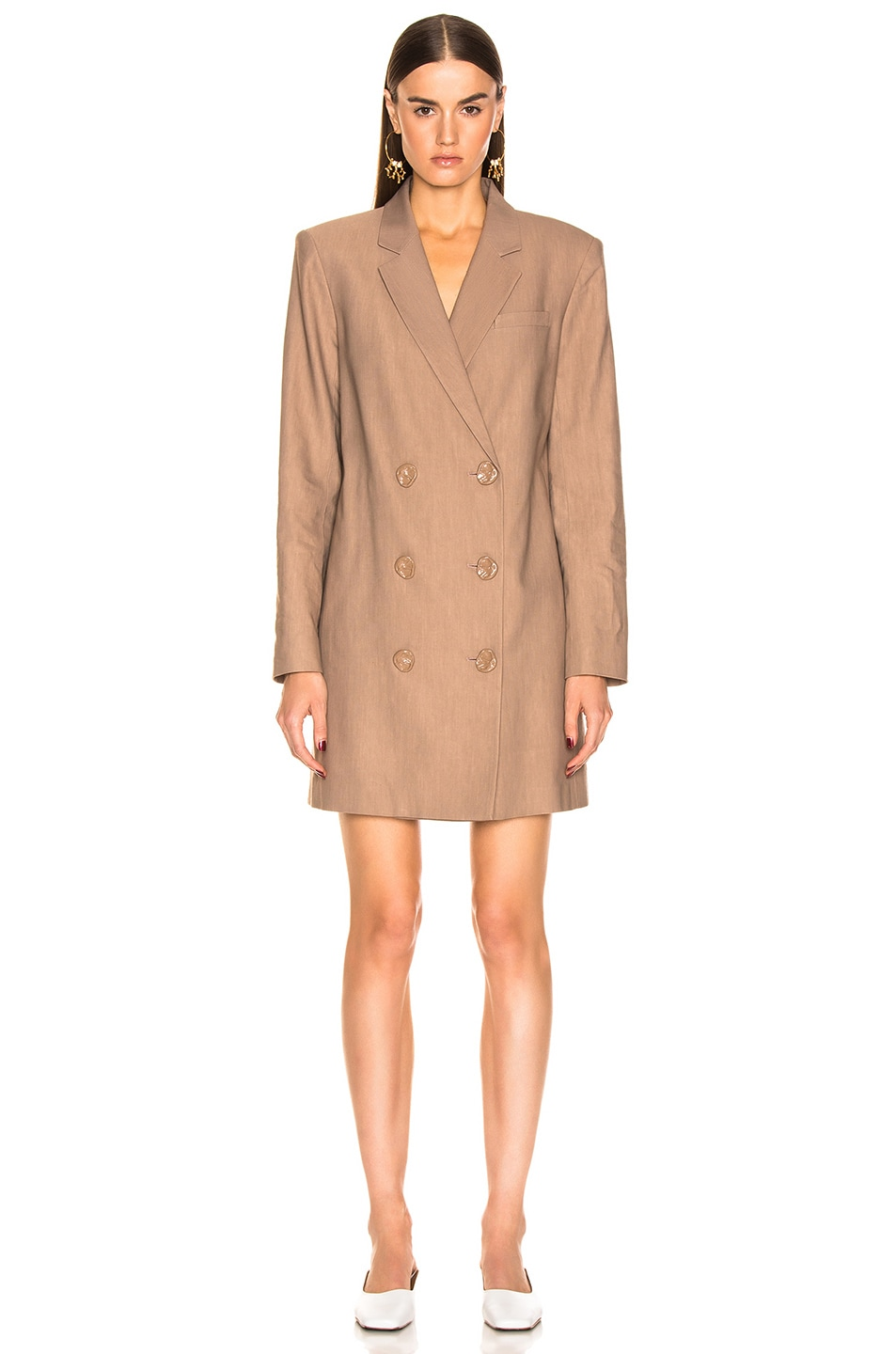 Image 2 of Tibi Linen Suiting Blazer Dress With Detachable Tie in Sable Brown