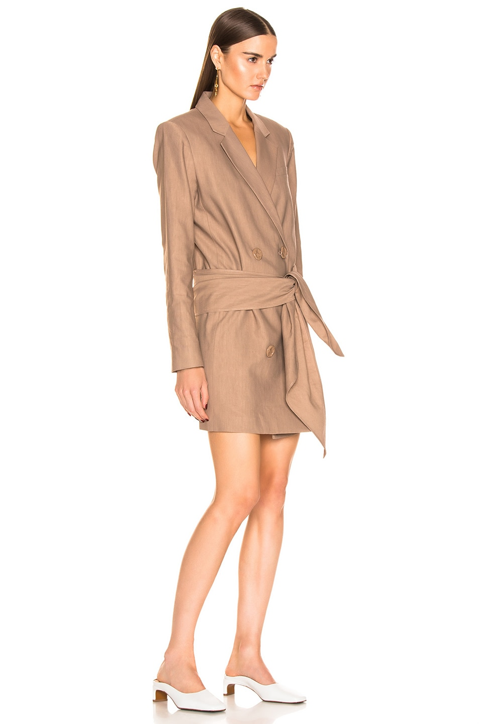 Image 3 of Tibi Linen Suiting Blazer Dress With Detachable Tie in Sable Brown