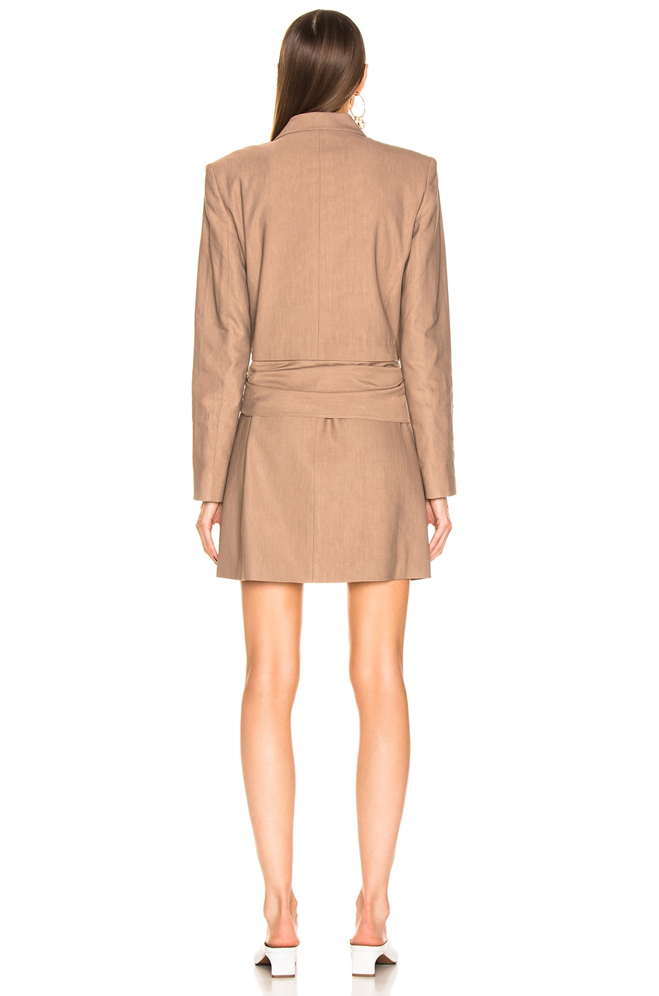 Image 4 of Tibi Linen Suiting Blazer Dress With Detachable Tie in Sable Brown