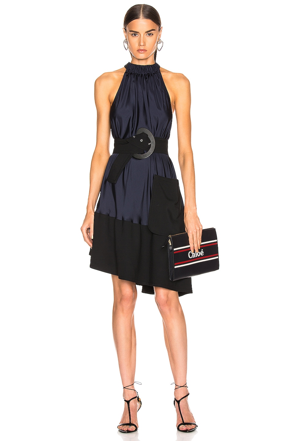 Image 1 of Tibi Asymmetrical Bias Belted Dress in Navy & Black