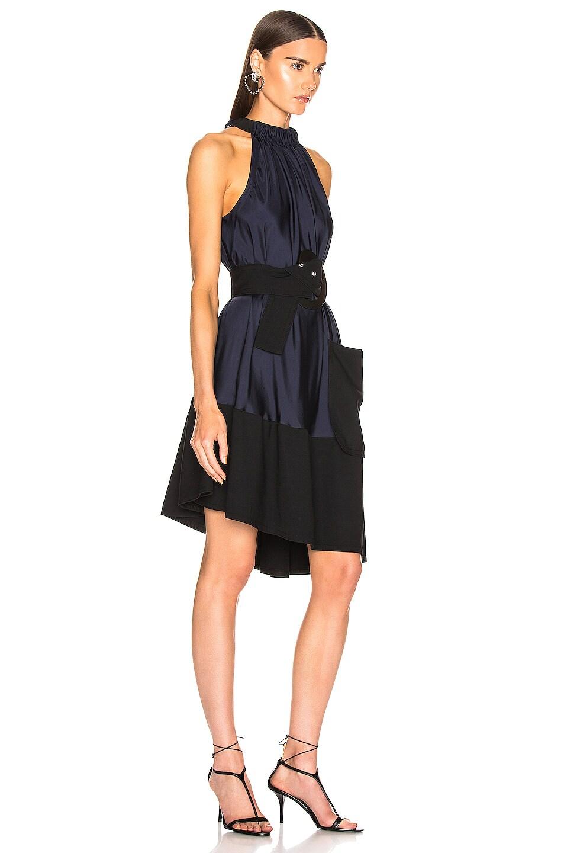 Image 2 of Tibi Asymmetrical Bias Belted Dress in Navy & Black