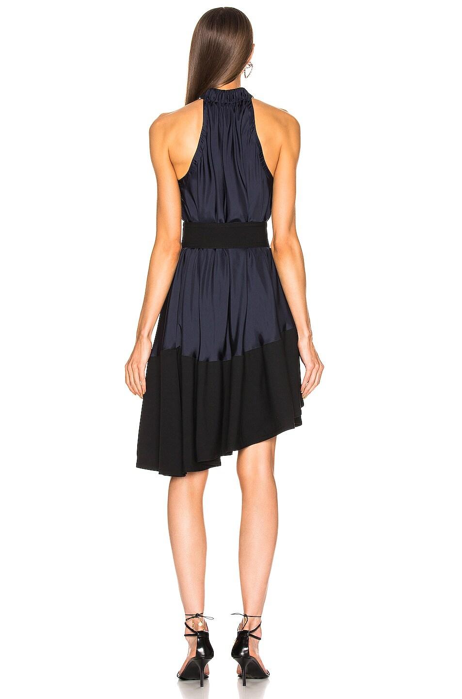 Image 4 of Tibi Asymmetrical Bias Belted Dress in Navy & Black