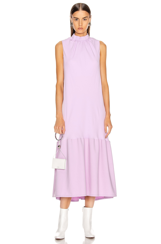 Image 1 of Tibi Modern Drape Sculpted Drape Long Dress in Mulberry