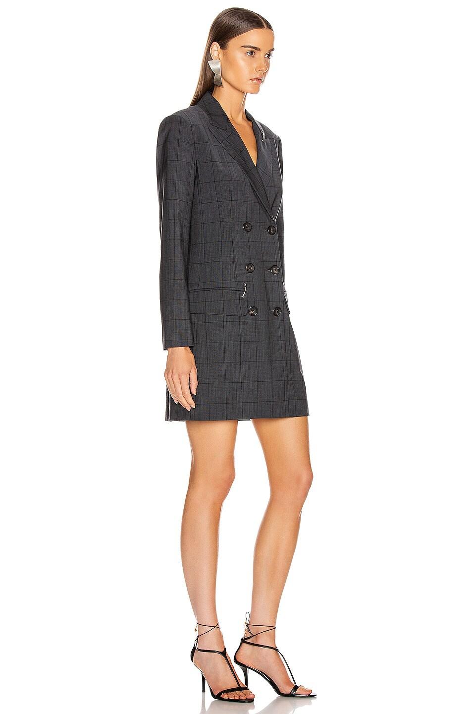 Image 2 of Tibi Menswear Windowpane Blazer Dress in Grey Multi