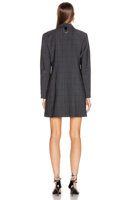 Image 3 of Tibi Menswear Windowpane Blazer Dress in Grey Multi