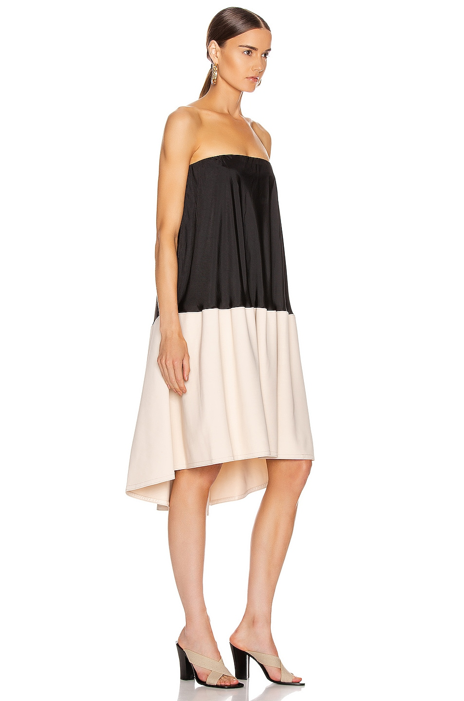Image 2 of Tibi Drape Strapless Bias Dress in Black & Blush