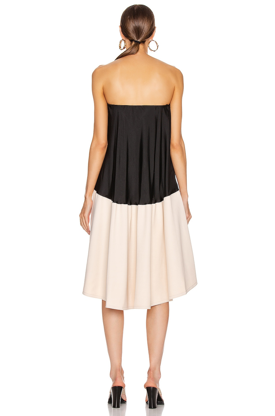 Image 3 of Tibi Drape Strapless Bias Dress in Black & Blush