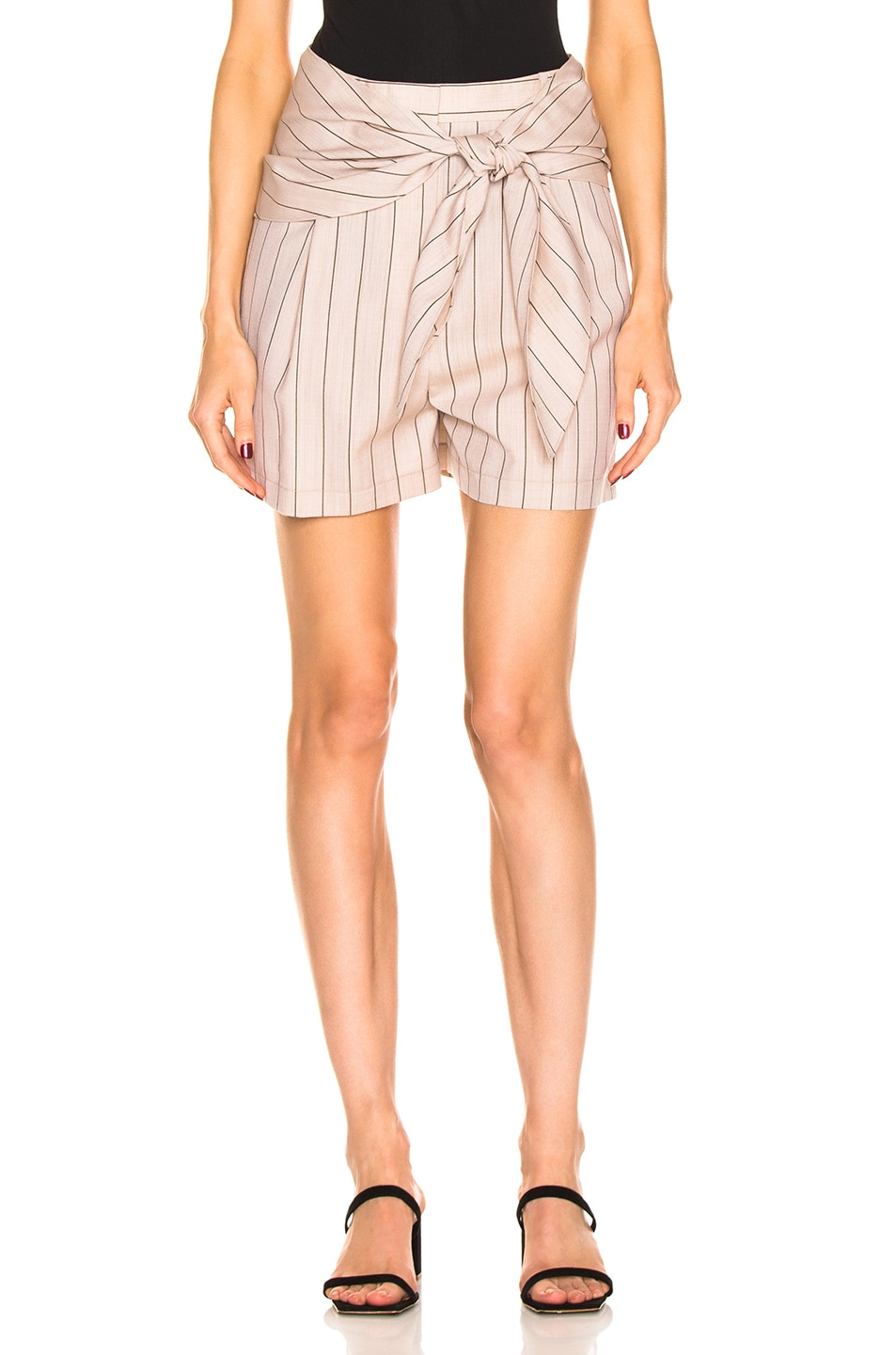 Image 1 of Tibi Stripe Suiting Sculpted Short in Hazelwood Multi