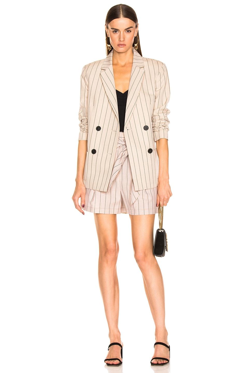 Image 5 of Tibi Stripe Suiting Sculpted Short in Hazelwood Multi