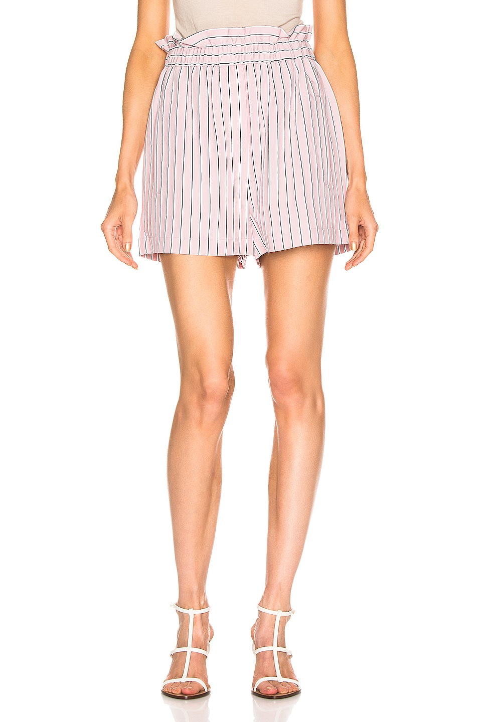Image 1 of Tibi Stripe Pull On Short in Dusty Pink
