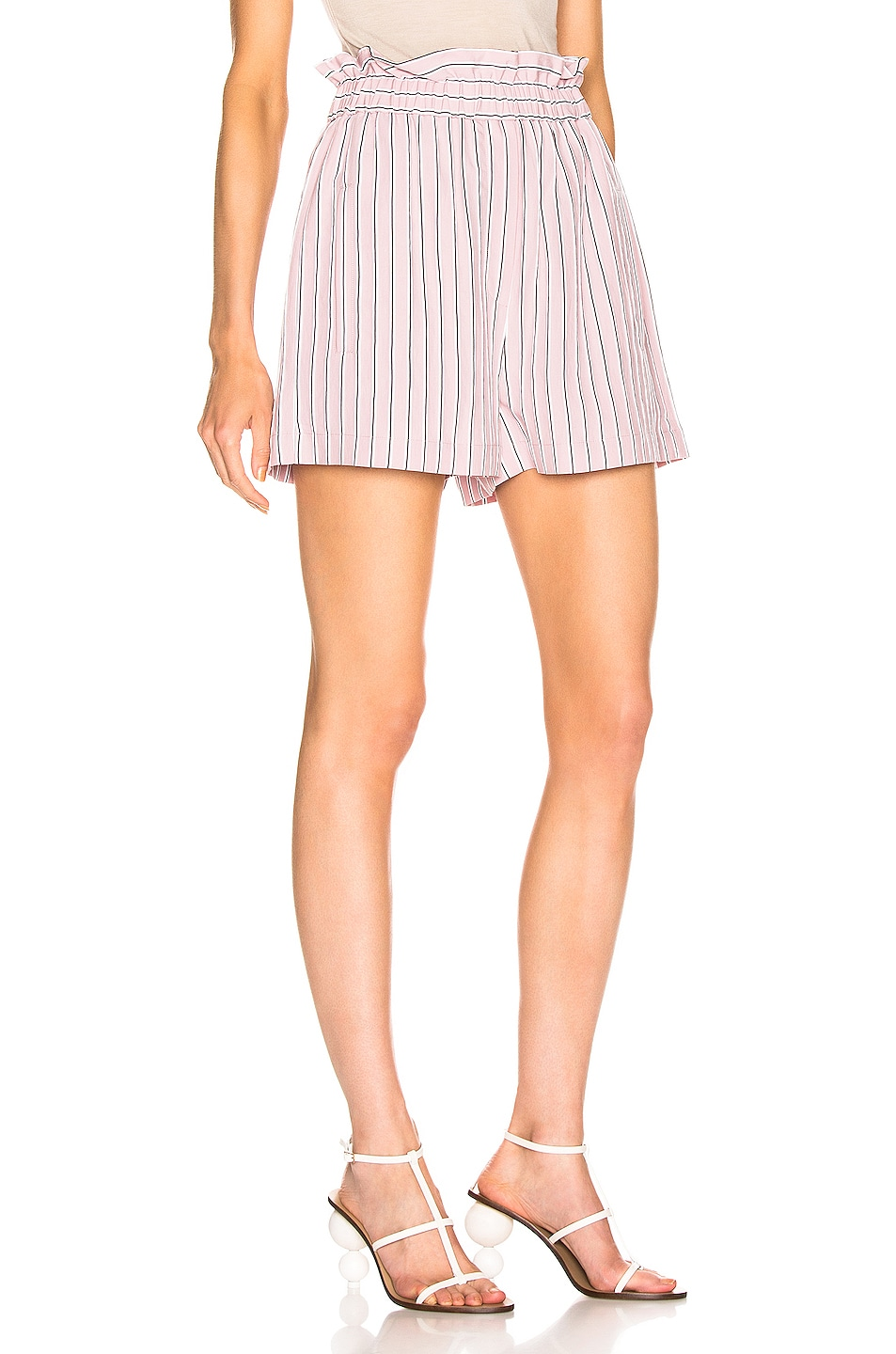 Image 2 of Tibi Stripe Pull On Short in Dusty Pink