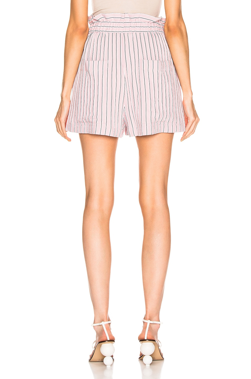 Image 3 of Tibi Stripe Pull On Short in Dusty Pink