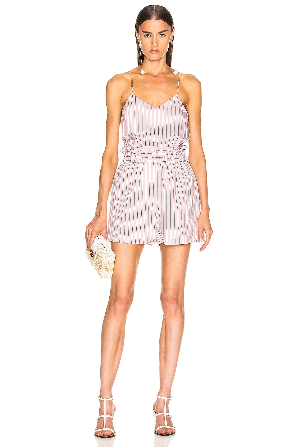 Image 4 of Tibi Stripe Pull On Short in Dusty Pink