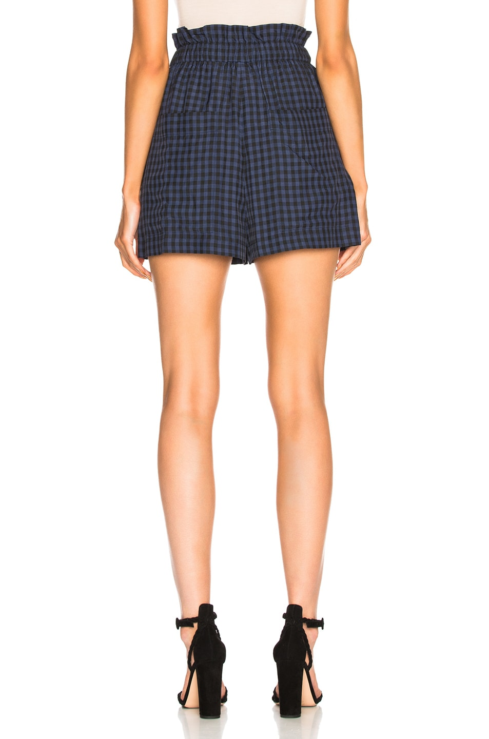 Image 3 of Tibi Viscose Gingham Pull On Shorts in Navy Multi