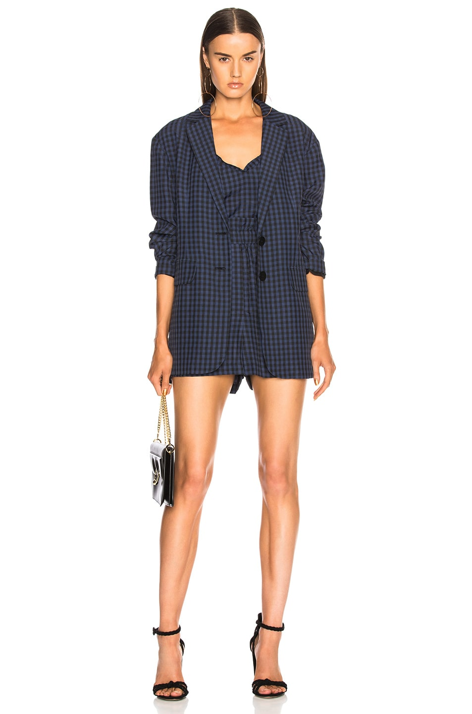 Image 4 of Tibi Viscose Gingham Pull On Shorts in Navy Multi