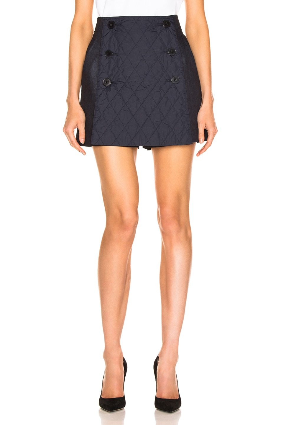 Image 1 of Tibi Skort with Removable Quilted Flap in Dark Denim