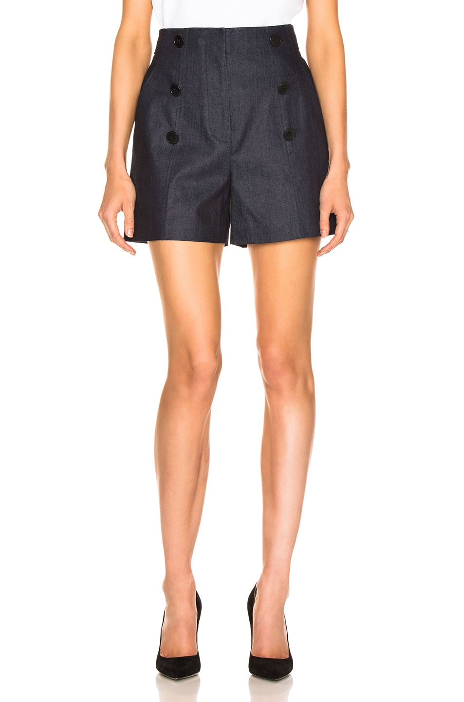 Image 2 of Tibi Skort with Removable Quilted Flap in Dark Denim