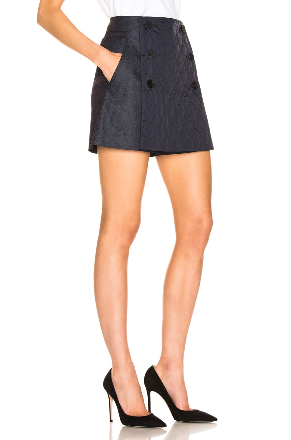 Image 3 of Tibi Skort with Removable Quilted Flap in Dark Denim