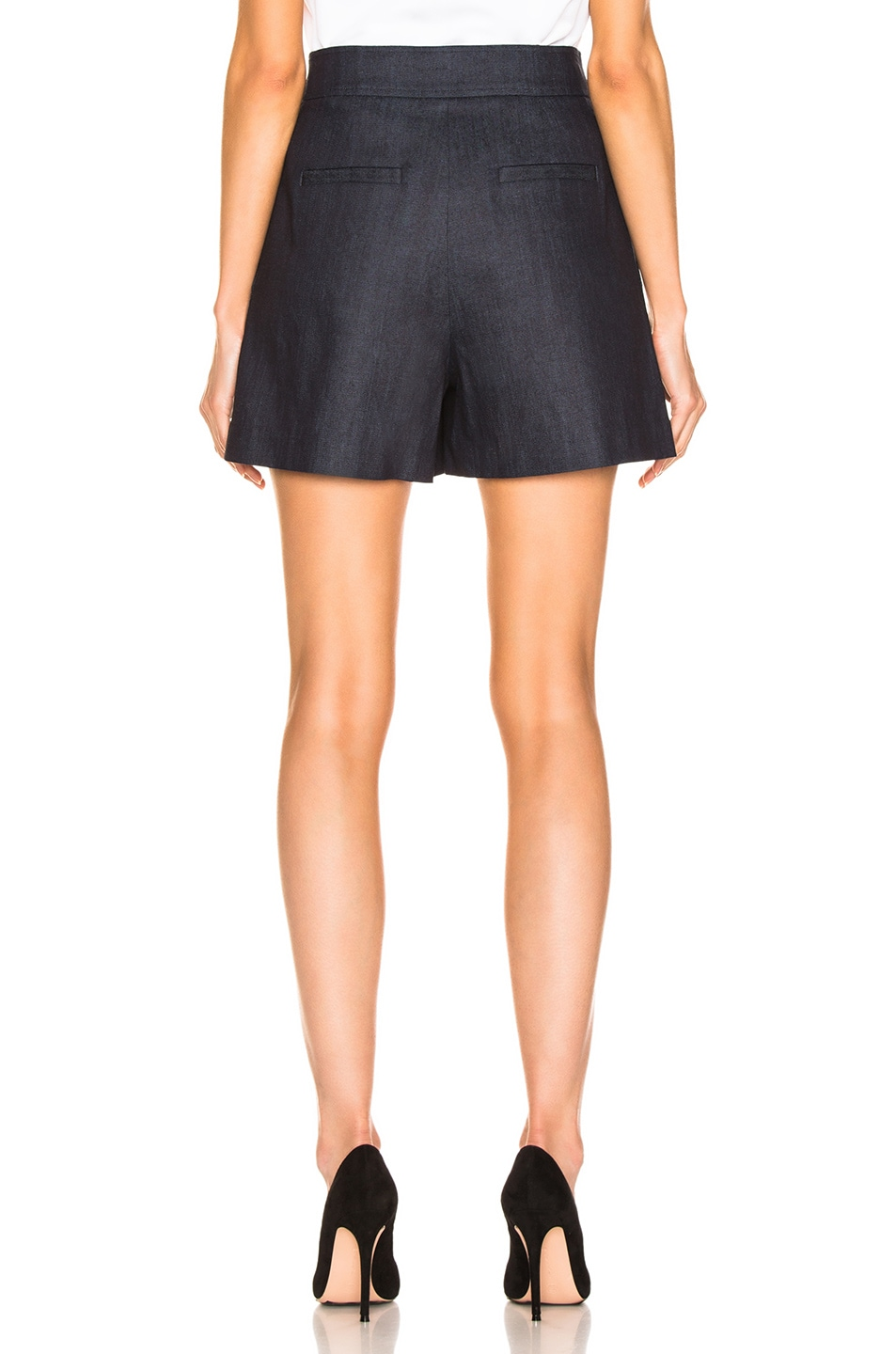 Image 4 of Tibi Skort with Removable Quilted Flap in Dark Denim