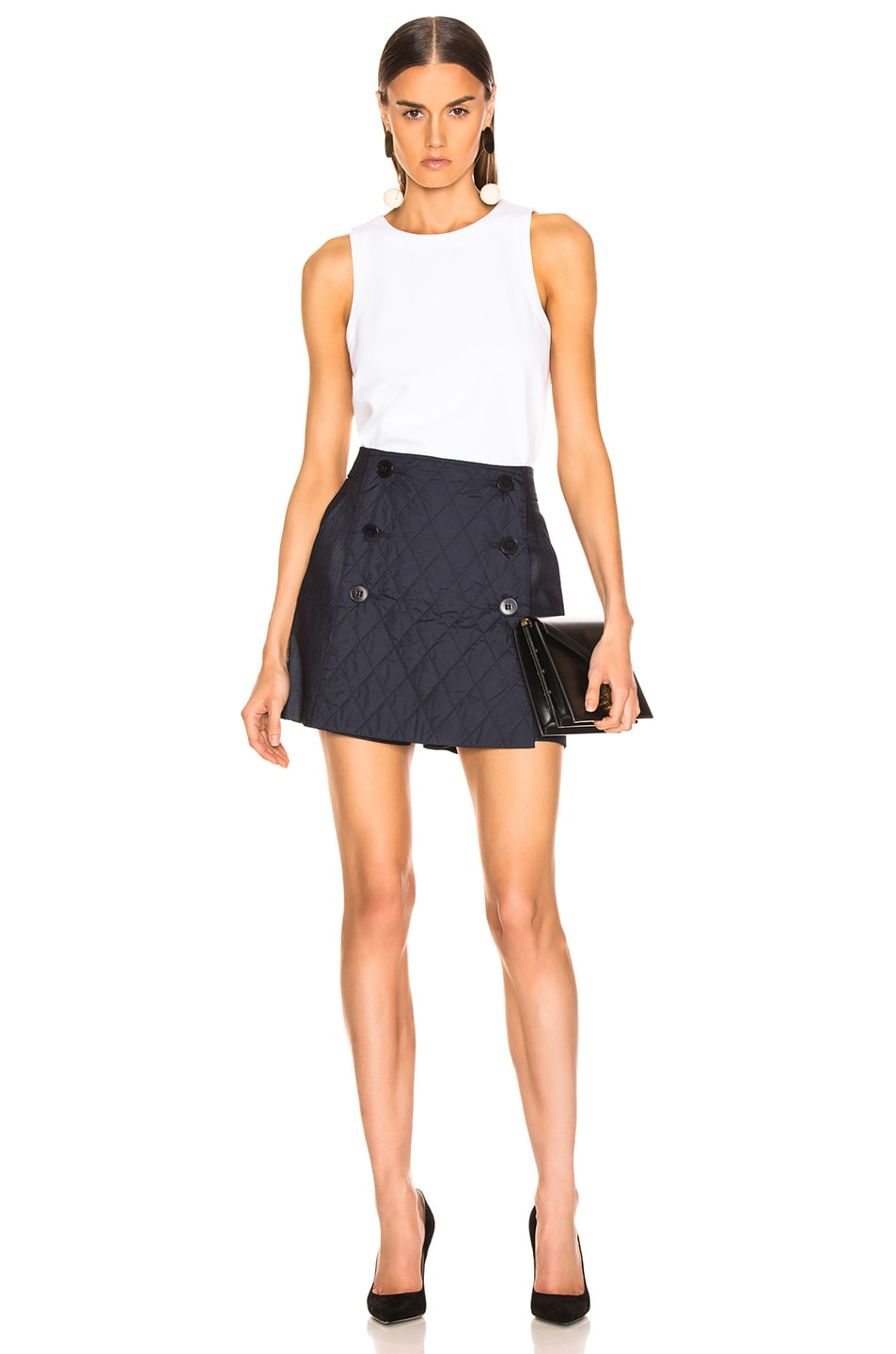 Image 5 of Tibi Skort with Removable Quilted Flap in Dark Denim