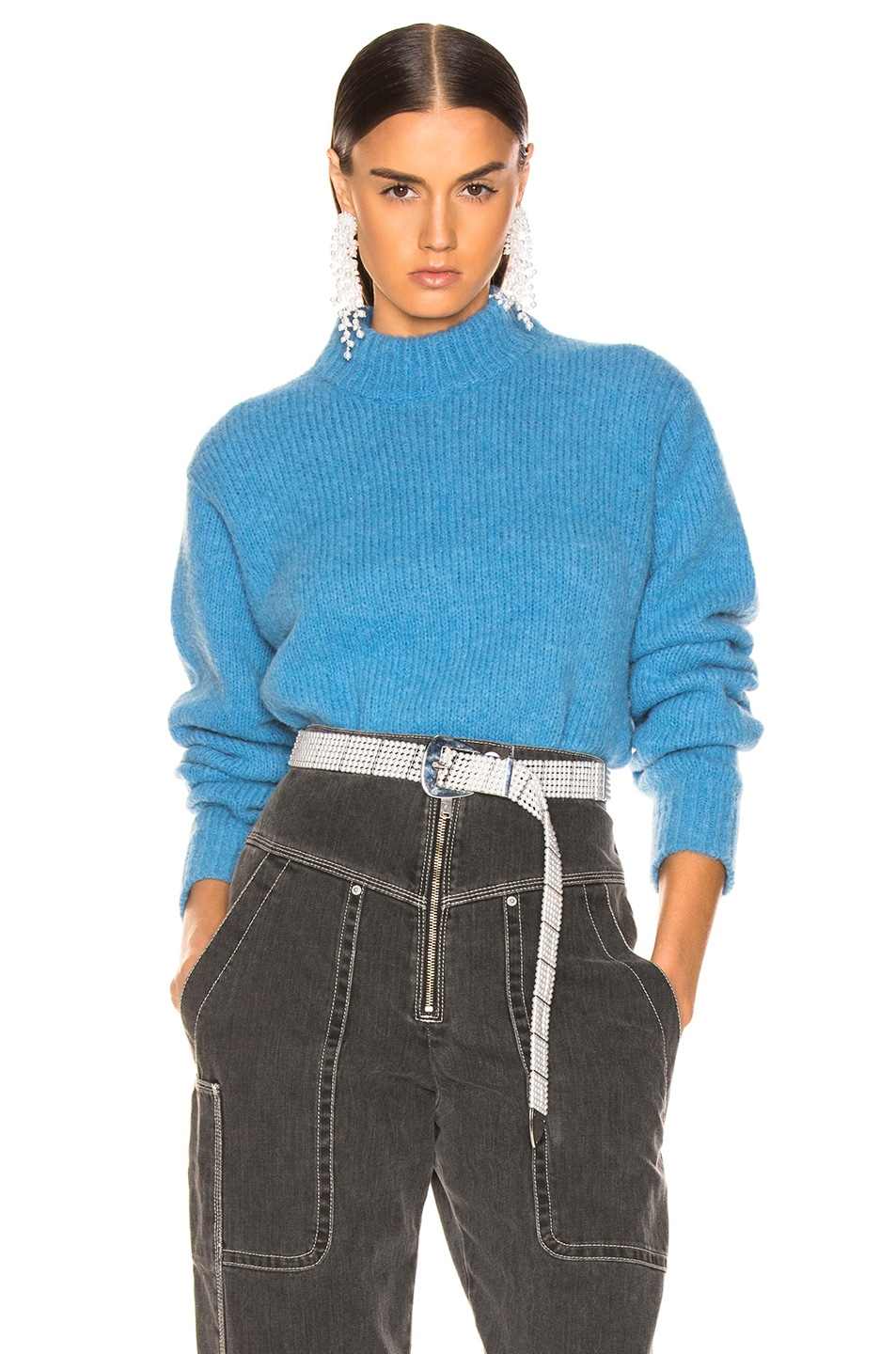 Image 1 of Tibi Easy Pullover in Sky Blue