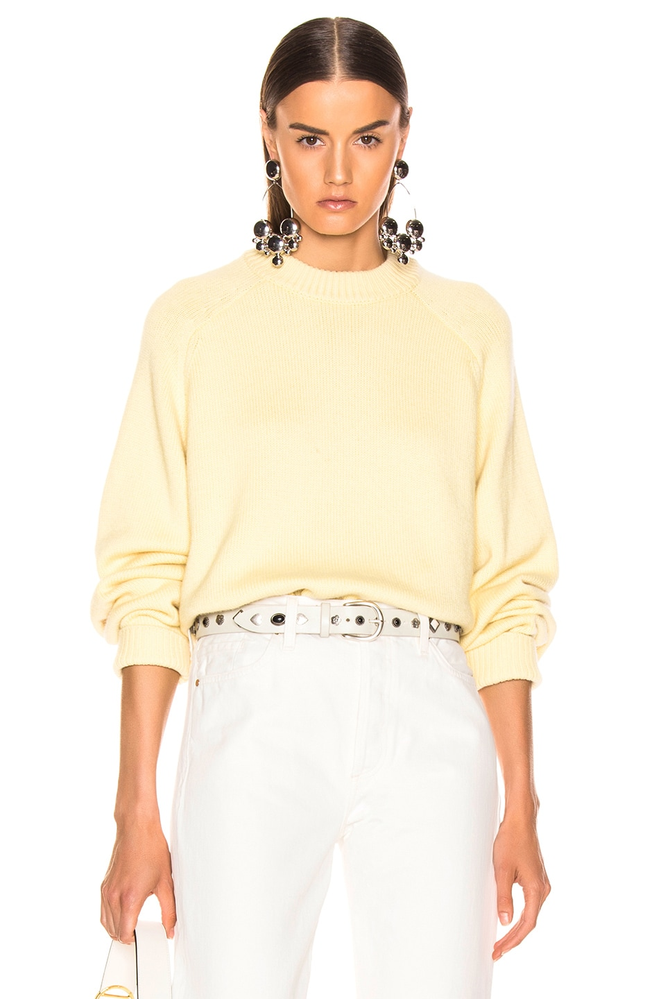 Image 1 of Tibi Crewneck Oversized Pullover in Butter Yellow
