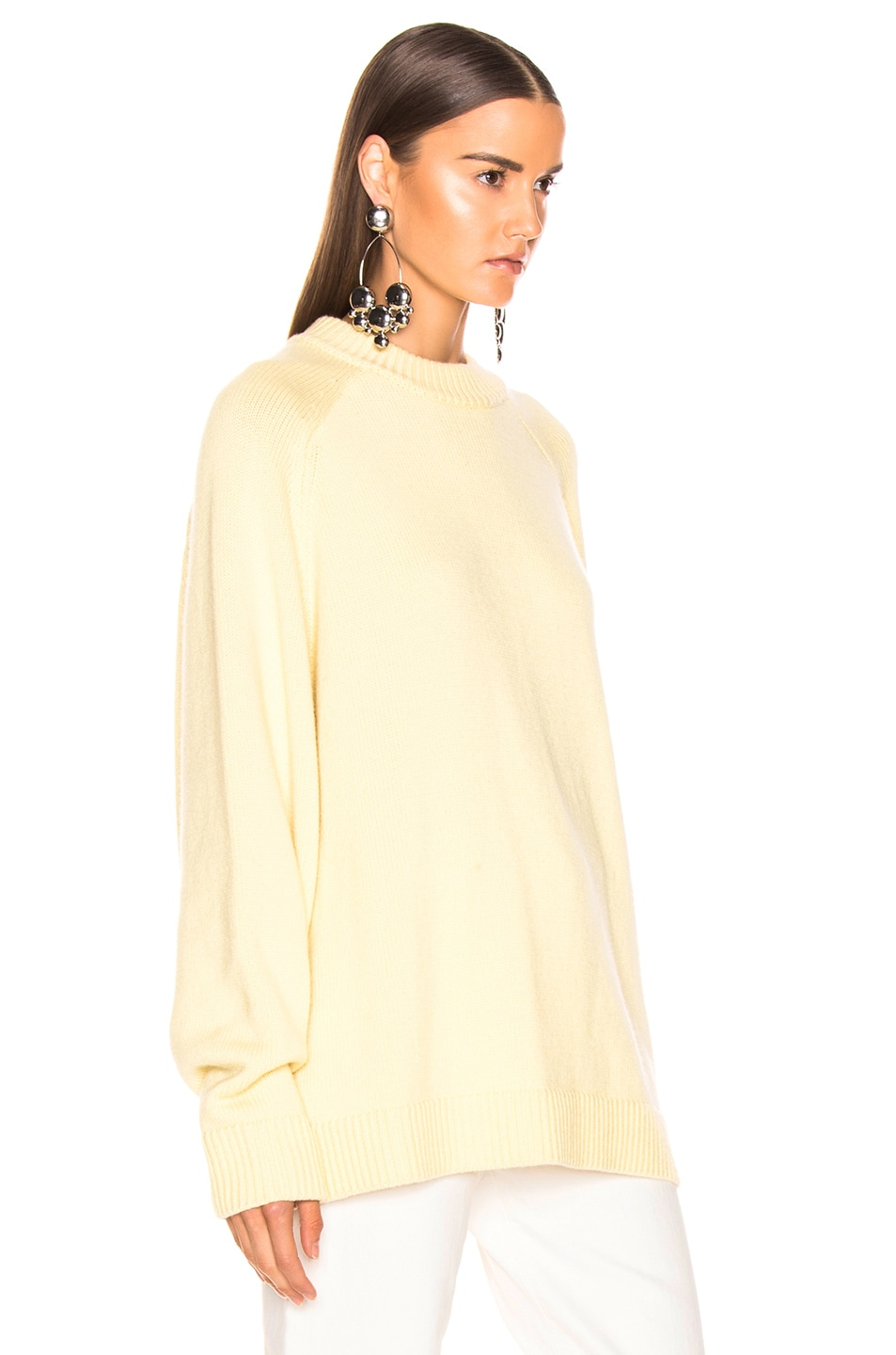 Image 2 of Tibi Crewneck Oversized Pullover in Butter Yellow