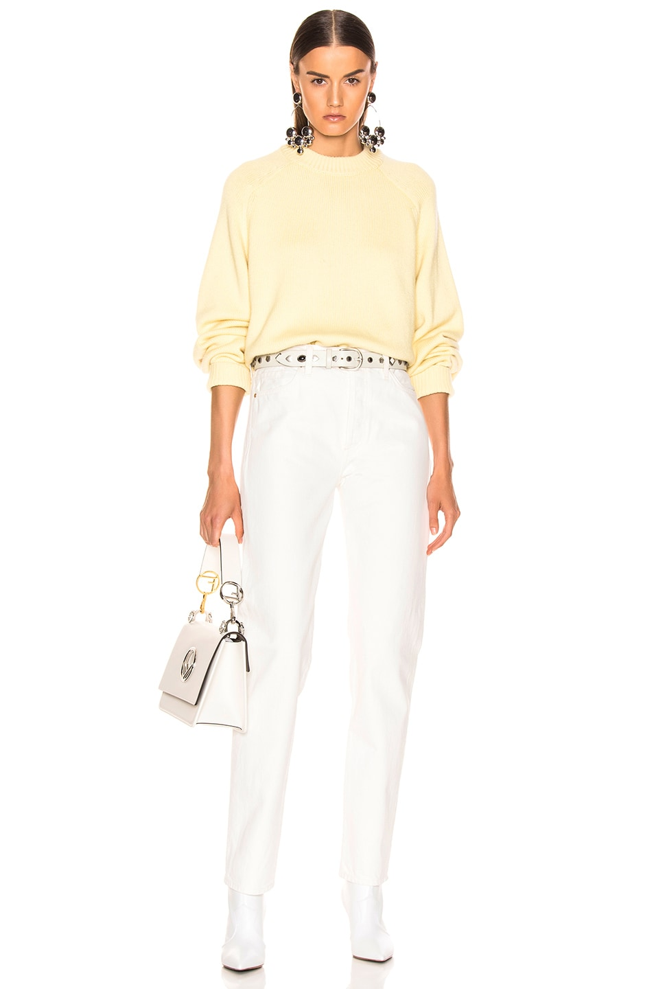 Image 4 of Tibi Crewneck Oversized Pullover in Butter Yellow