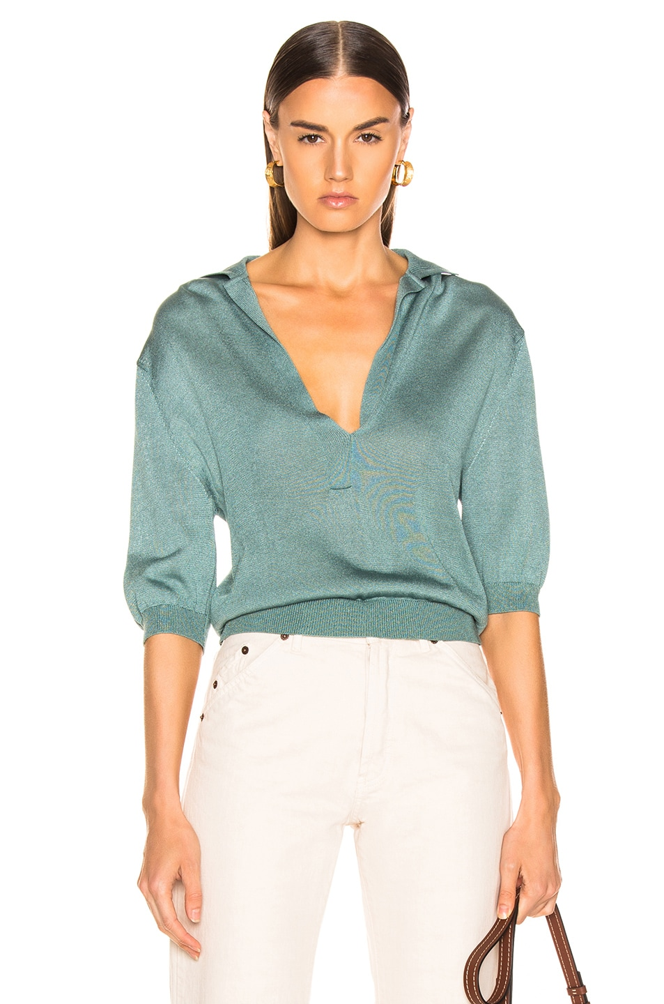 Image 1 of Tibi Short Sleeve Polo Pullover in Egg Blue