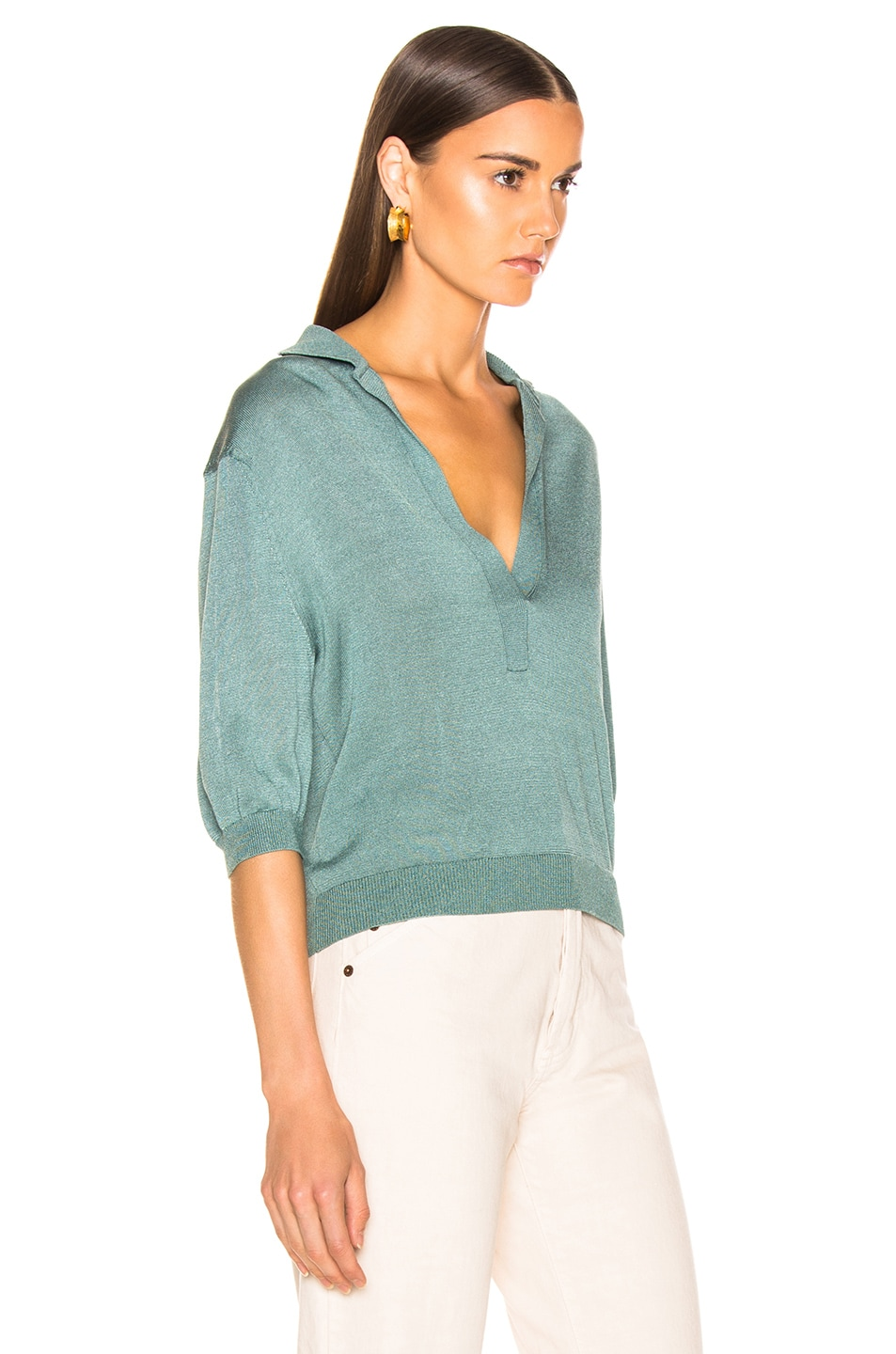 Image 2 of Tibi Short Sleeve Polo Pullover in Egg Blue
