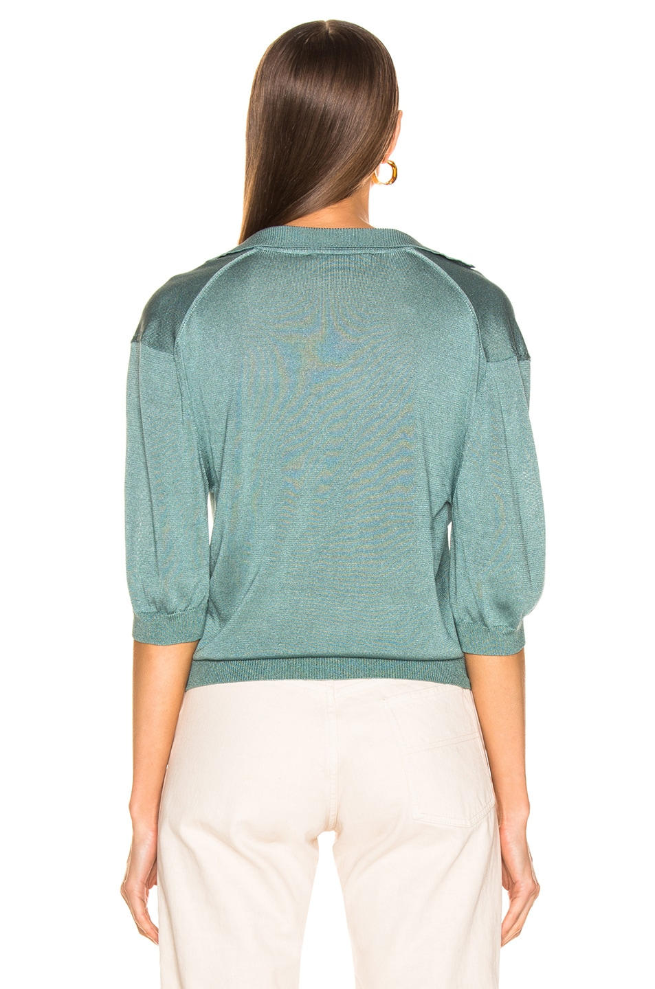 Image 3 of Tibi Short Sleeve Polo Pullover in Egg Blue