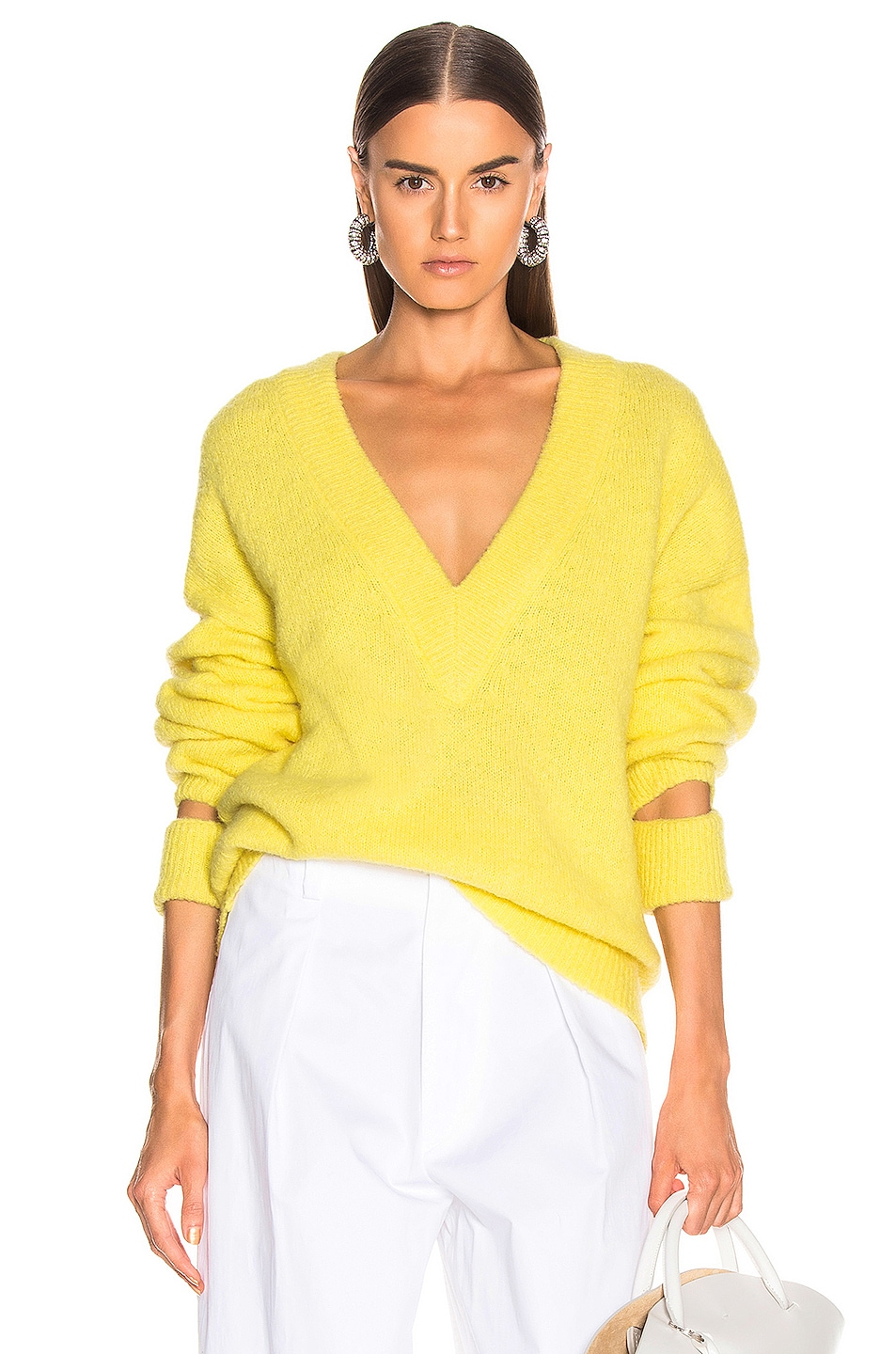 Image 1 of Tibi V Neck Pullover Sweater in Acid Yellow