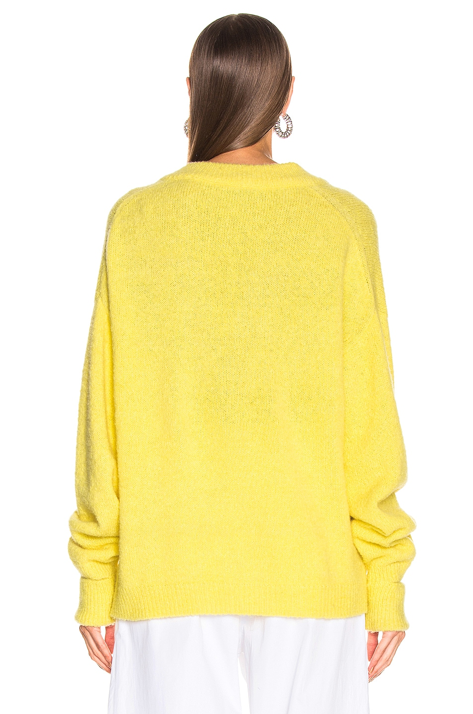 Image 3 of Tibi V Neck Pullover Sweater in Acid Yellow