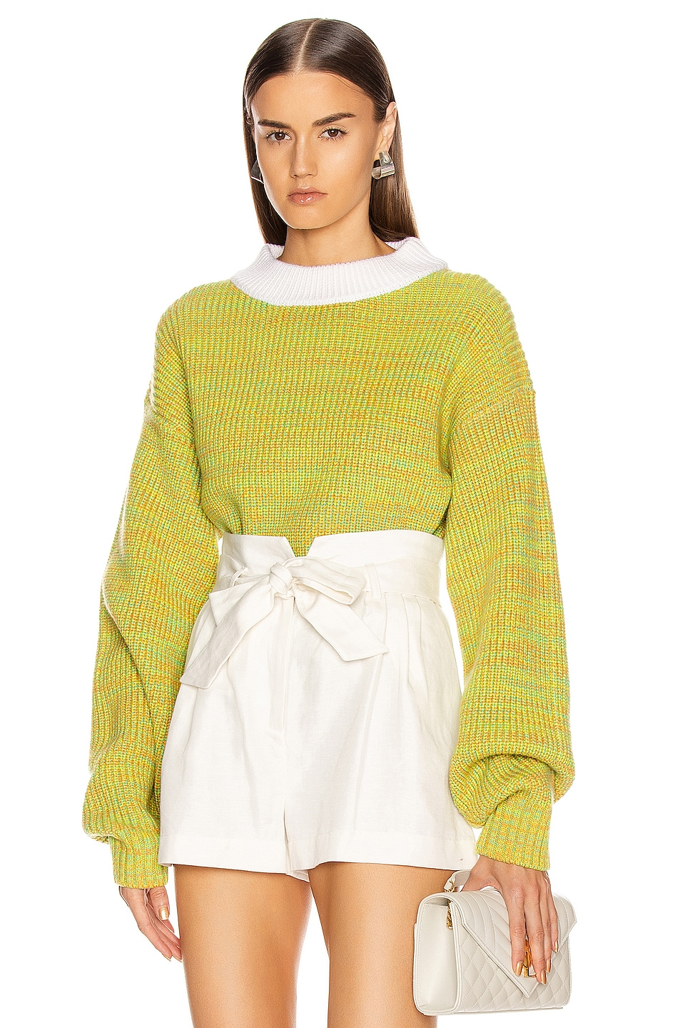 Image 1 of Tibi Wool Tweedy Cropped Sweater in Green Multi