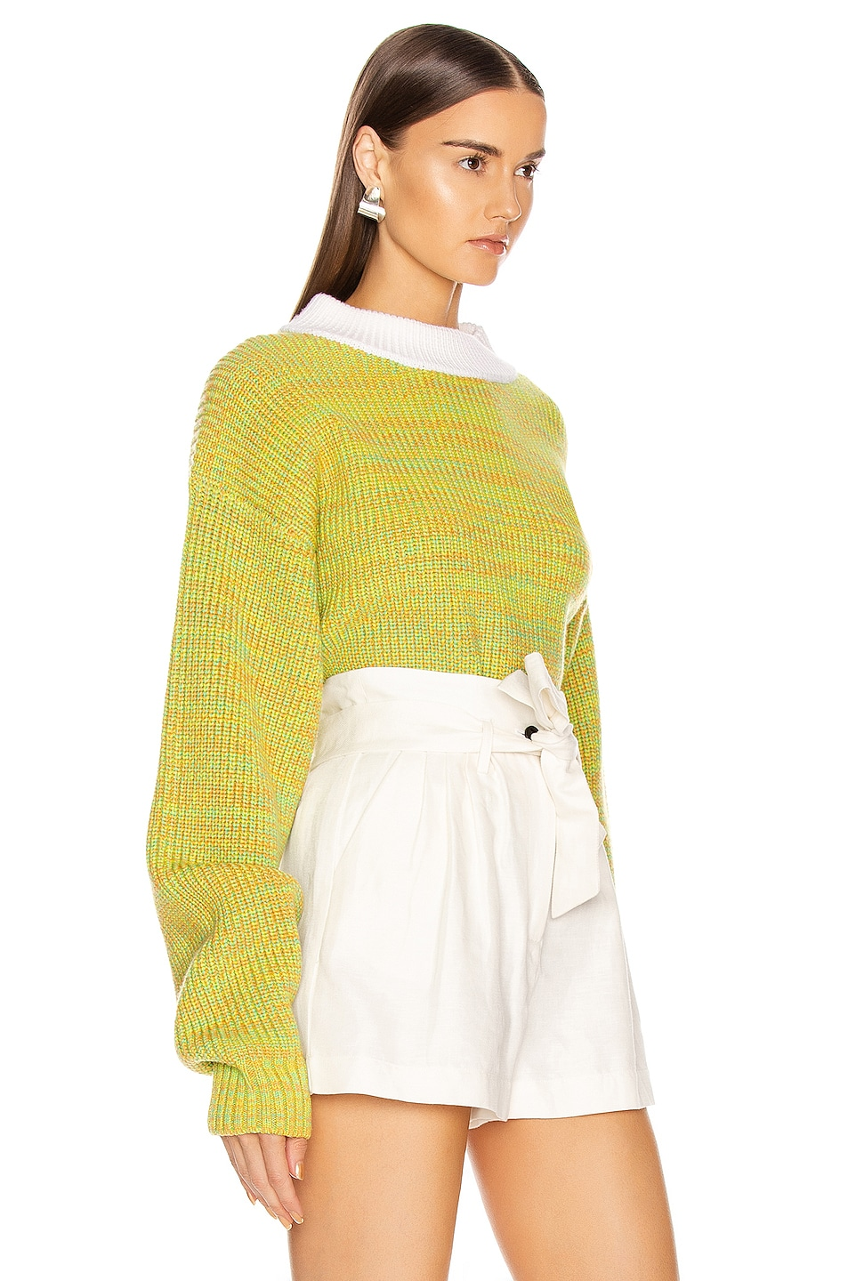 Image 2 of Tibi Wool Tweedy Cropped Sweater in Green Multi