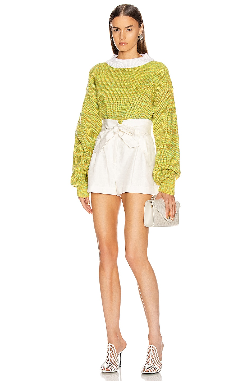 Image 4 of Tibi Wool Tweedy Cropped Sweater in Green Multi