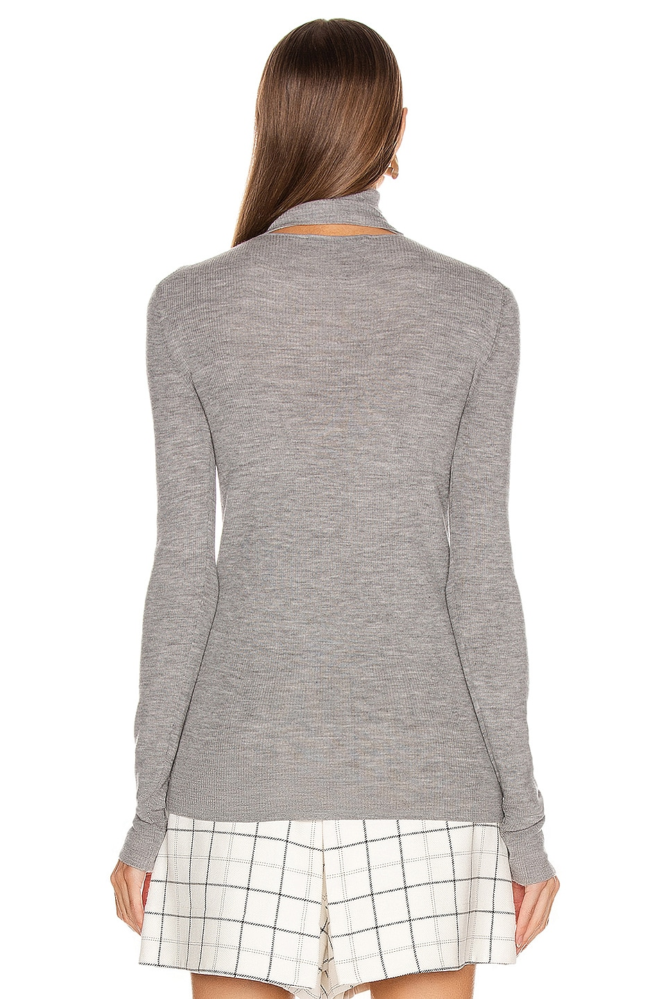 Image 3 of Tibi Feather Weight Ribbed Sweater Turtleneck Pullover in Light Heather Grey
