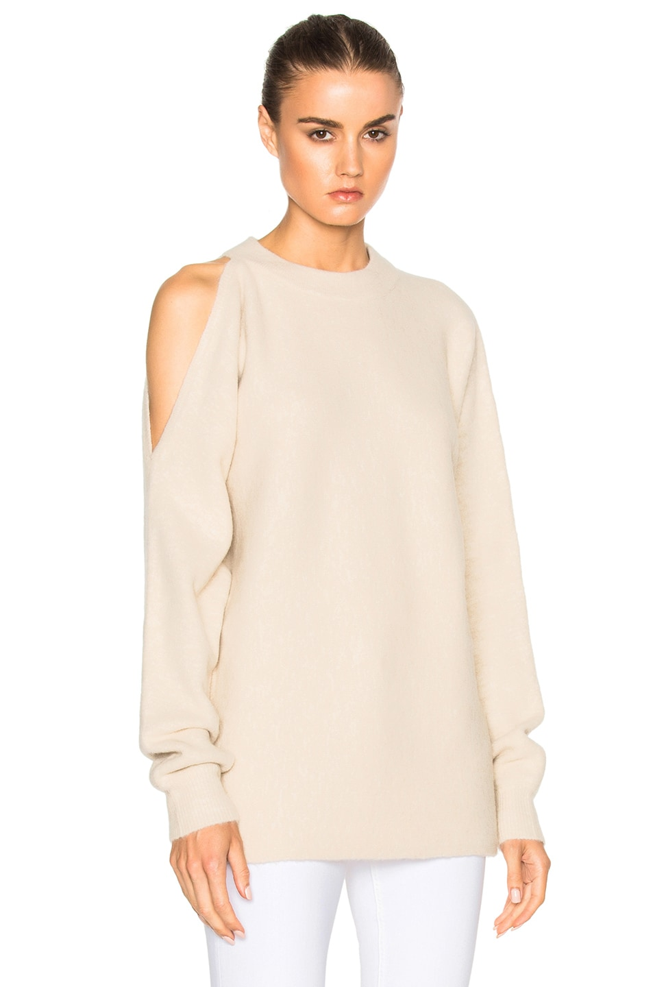 Image 1 of Tibi Cut Out Shoulder Sweater in Burlap