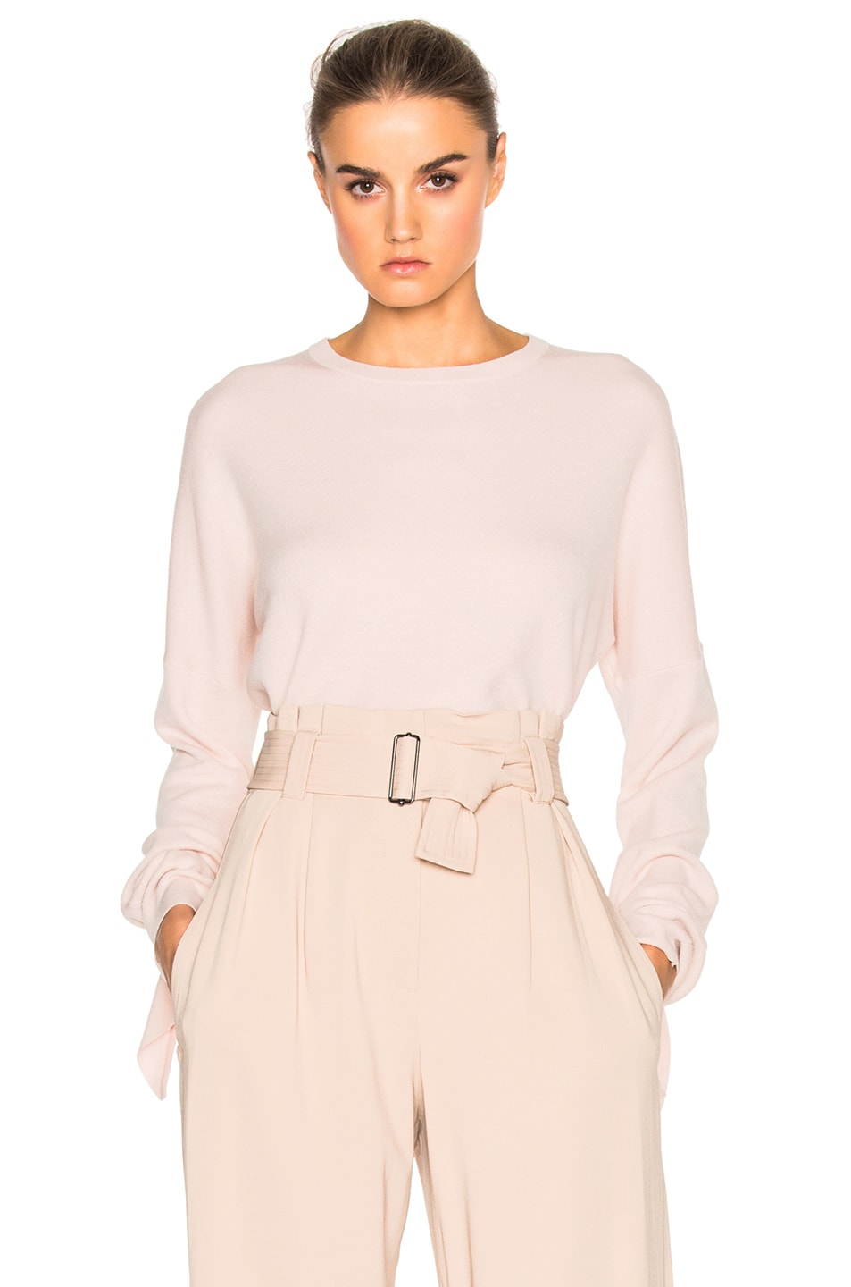 Image 1 of Tibi Mock Tie Sleeve Sweater in Pale Blush