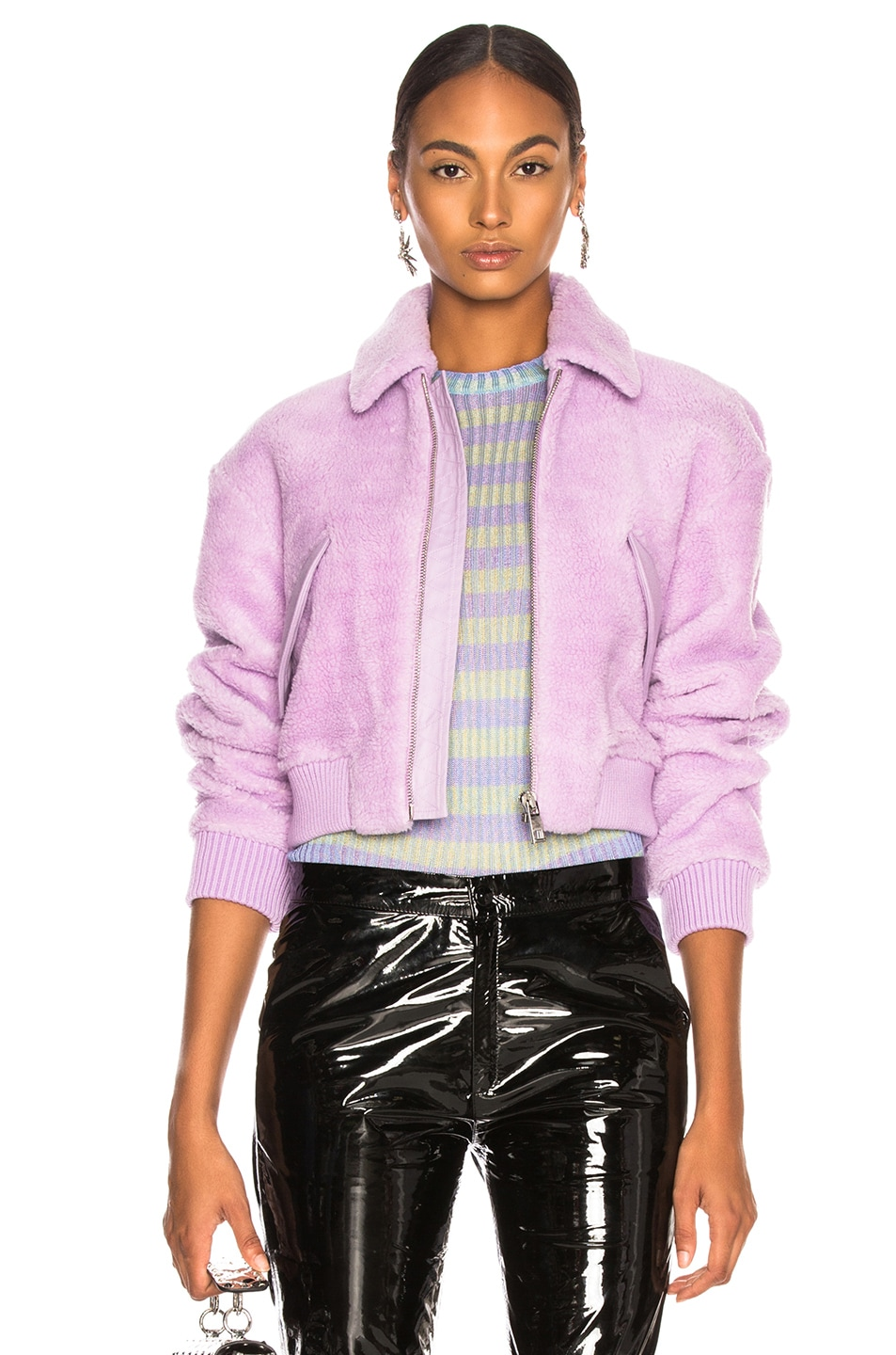 Image 1 of Tibi Faux Shearling Gus Cropped Jacket in Lavender
