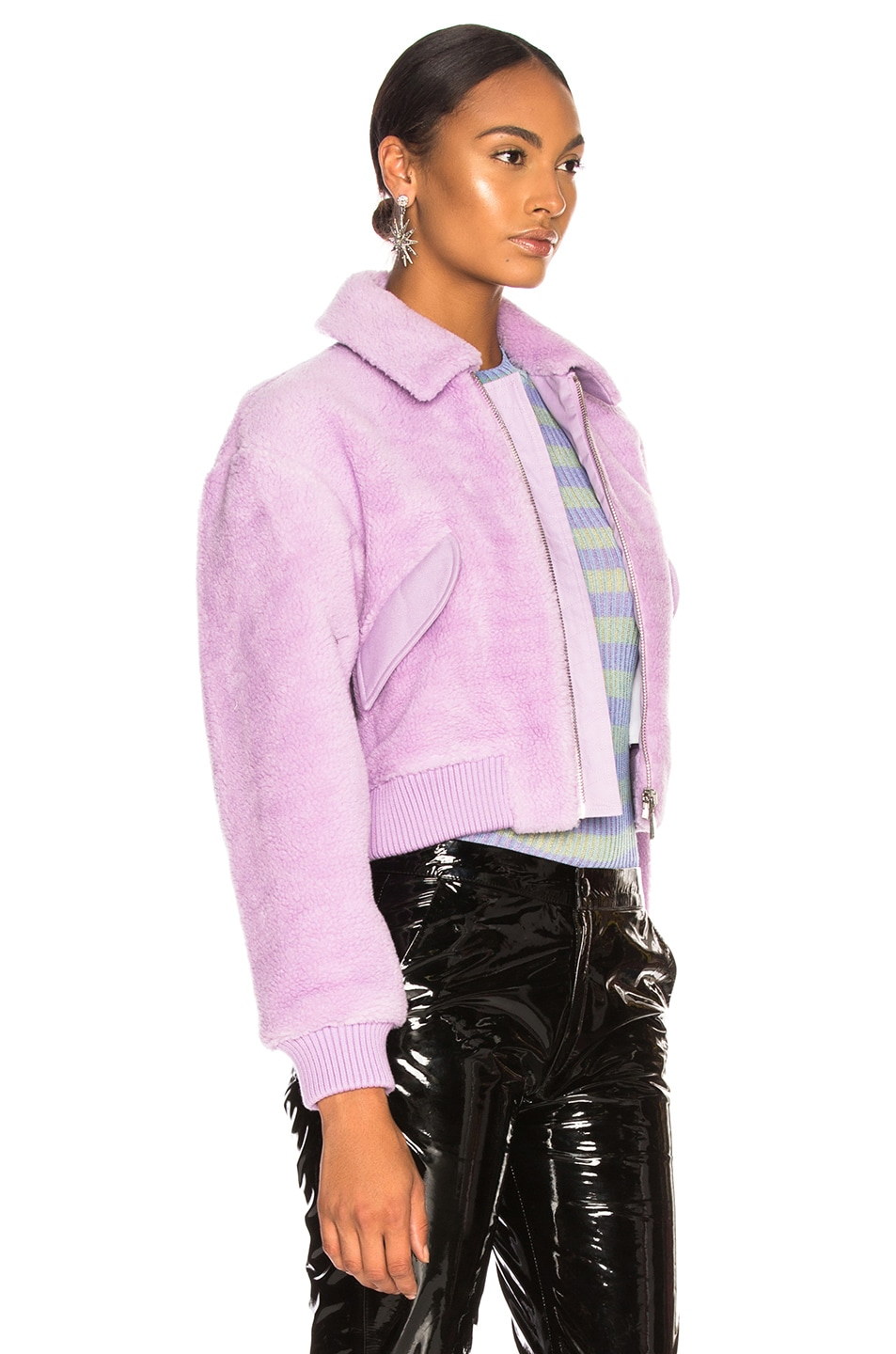 Image 3 of Tibi Faux Shearling Gus Cropped Jacket in Lavender