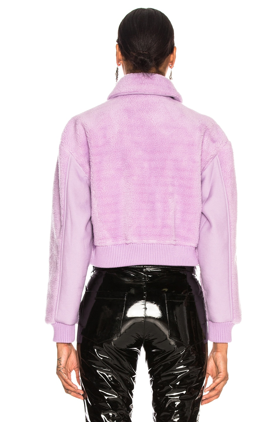 Image 4 of Tibi Faux Shearling Gus Cropped Jacket in Lavender