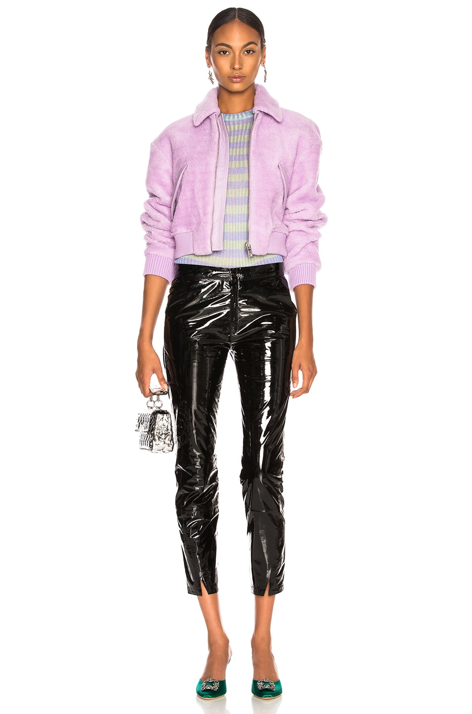 Image 5 of Tibi Faux Shearling Gus Cropped Jacket in Lavender