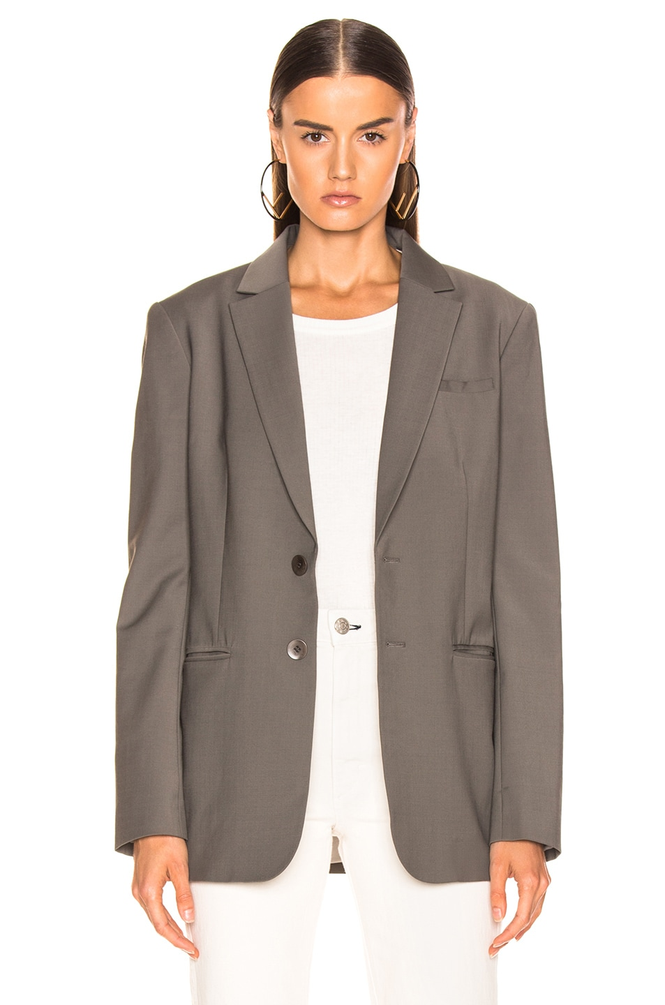 Image 2 of Tibi Blazer with Removable Belt in Dark Stone