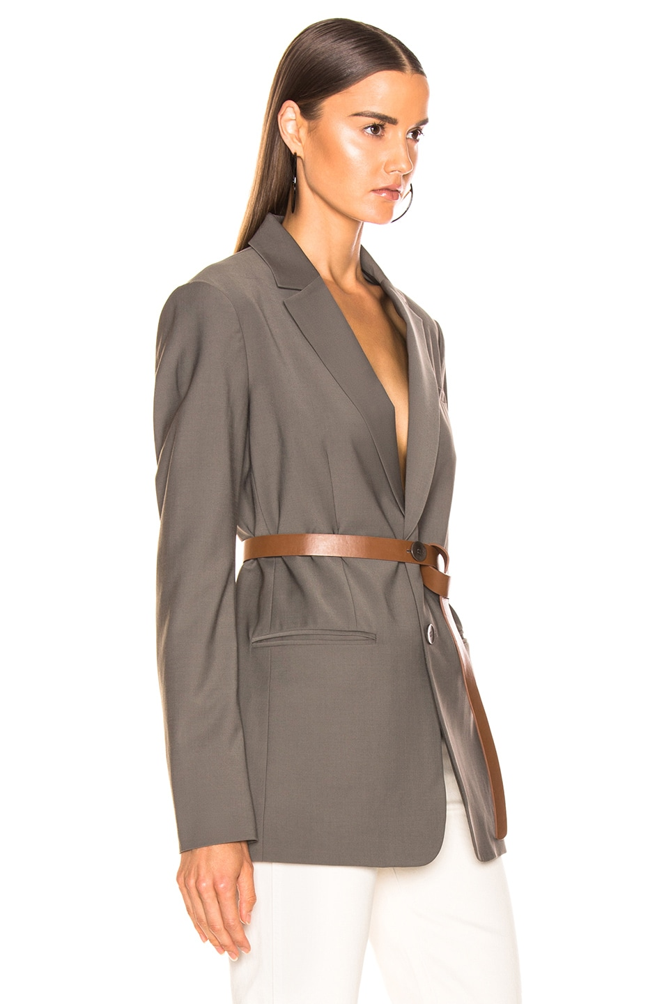 Image 3 of Tibi Blazer with Removable Belt in Dark Stone