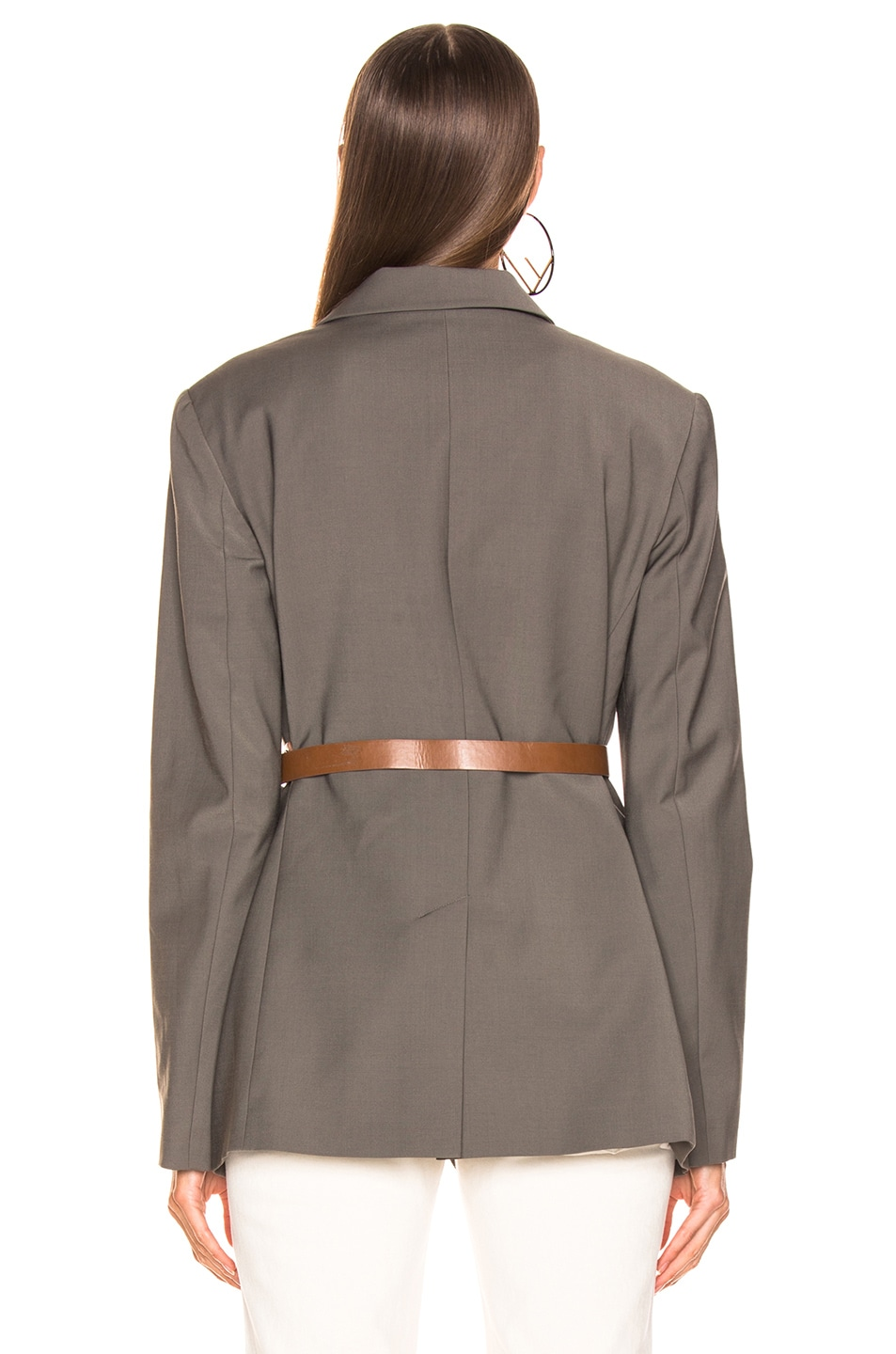 Image 4 of Tibi Blazer with Removable Belt in Dark Stone