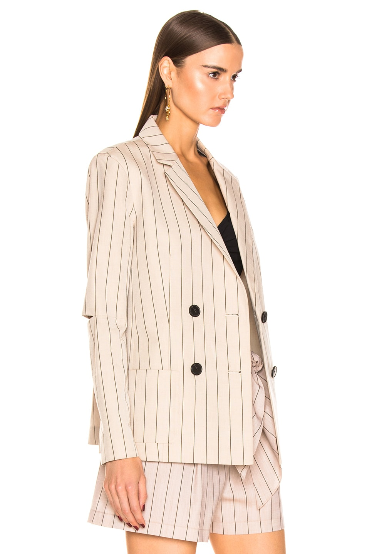 Image 3 of Tibi Stripe Suiting Blazer in Hazelwood Multi